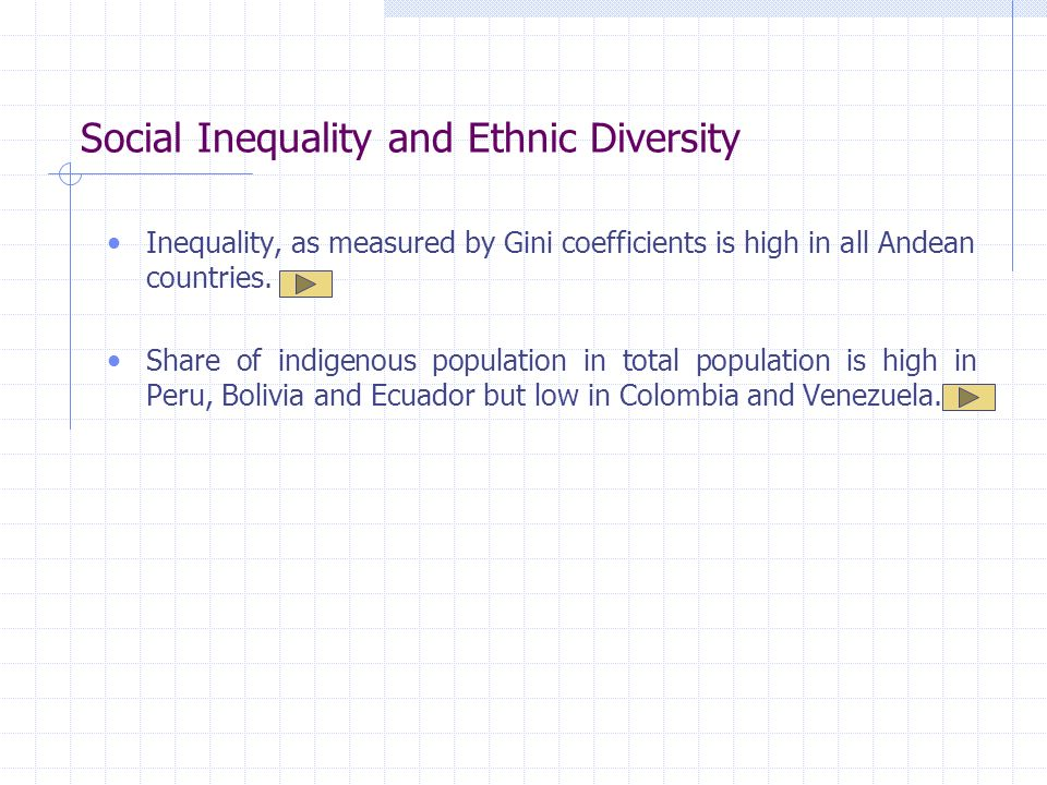 Social Inequality and Ethnic Diversity Inequality, as measured by Gini coefficients is high in all Andean countries.