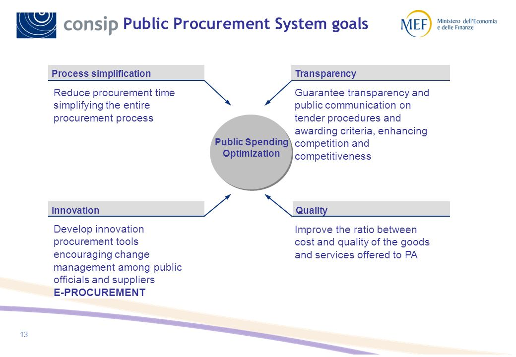 12 Consips Public Procurement Division Public Procurement Relationship with PAs Relationship with suppliers eProcurement strategies TLC goods/services