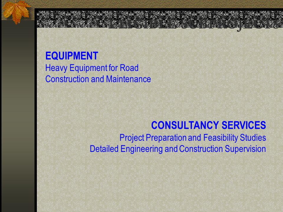 EQUIPMENT Heavy Equipment for Road Construction and Maintenance CONSULTANCY SERVICES Project Preparation and Feasibility Studies Detailed Engineering and Construction Supervision ELIGIBLE SUBPROJECTS