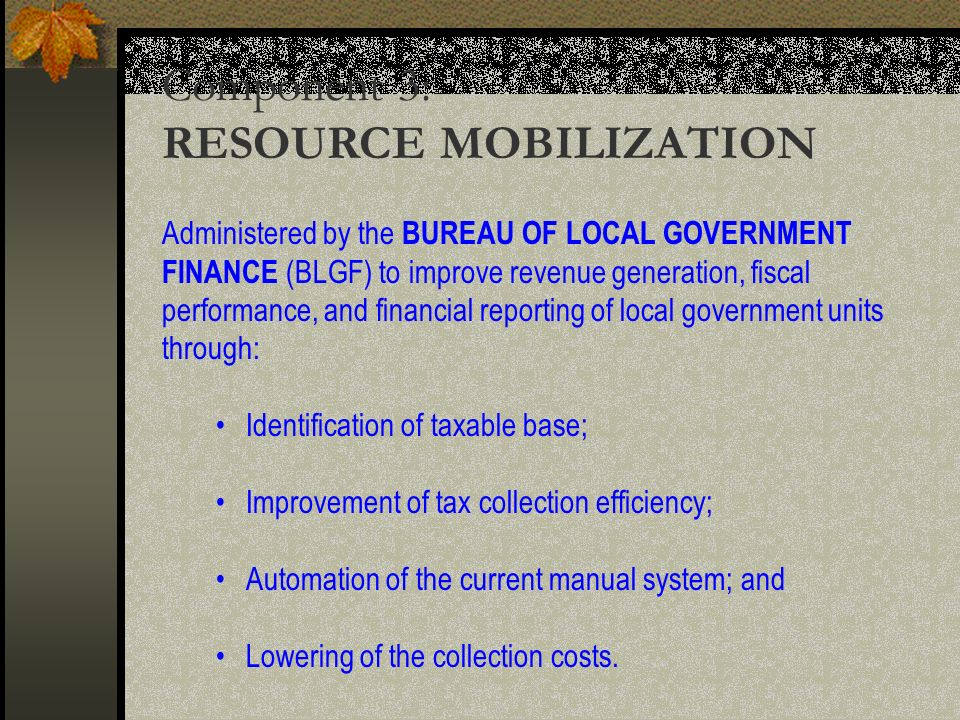 Component 3: RESOURCE MOBILIZATION Administered by the BUREAU OF LOCAL GOVERNMENT FINANCE (BLGF) to improve revenue generation, fiscal performance, and financial reporting of local government units through: Identification of taxable base; Improvement of tax collection efficiency; Automation of the current manual system; and Lowering of the collection costs.