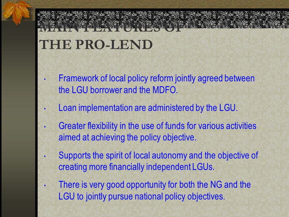 Framework of local policy reform jointly agreed between the LGU borrower and the MDFO.
