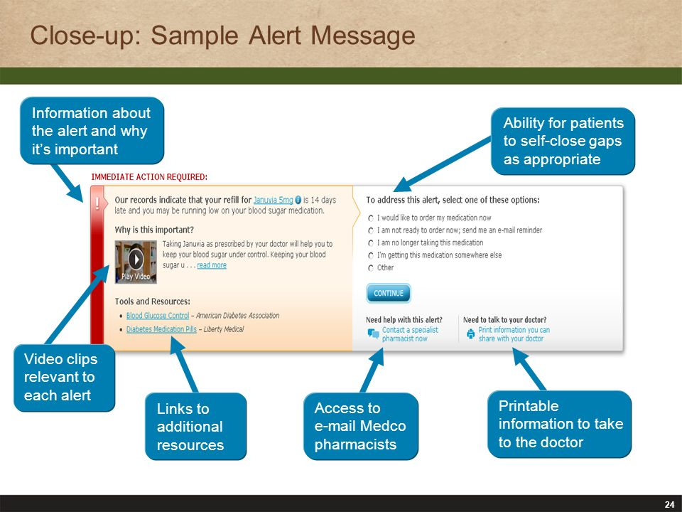 24 Close-up: Sample Alert Message Ability for patients to self-close gaps as appropriate Information about the alert and why its important Printable information to take to the doctor Access to e-mail Medco pharmacists Links to additional resources Video clips relevant to each alert