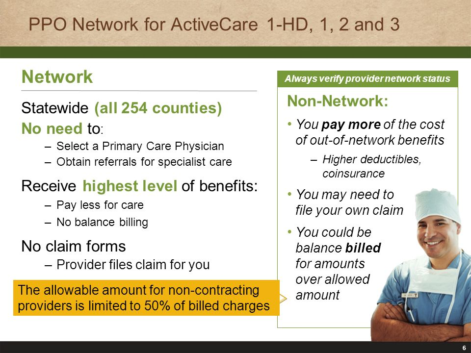 7 PPO Plan Overview (Network Level of Benefits) ServicesActiveCare 1-HDActiveCare 1ActiveCare 2ActiveCare 3 Deductible (individual/family) $2,400/$2,400$1,200/$3,000$750/$2,250$300/$900 Out-of-Pocket Maximum (individual/family; does not include deductibles) $3,000/$5,000$2,000/$6,000 $1,000 per individual Coinsurance (Plan pays/ participant pays) 80% / 20% Office Visit Copay 20% after deductible $30 for primary $50 for specialist $20 for primary $30 for specialist No Medical Plan Changes for 2012-2013 Primary means care provided by family practitioners, internists, OB/GYNs and pediatricians.