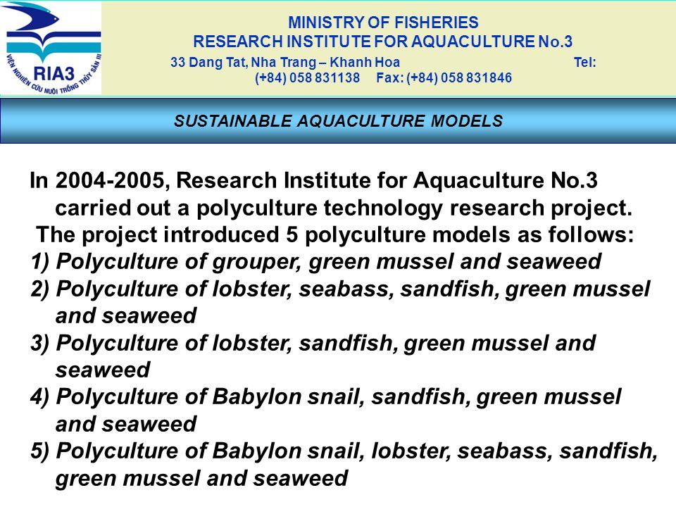 SUSTAINABLE AQUACULTURE MODELS MINISTRY OF FISHERIES RESEARCH INSTITUTE FOR AQUACULTURE No.3 33 Dang Tat, Nha Trang – Khanh Hoa Tel: (+84) 058 831138
