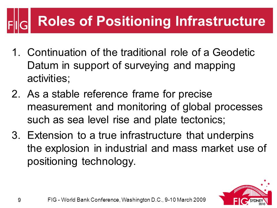 Conclusion Trends from Positioning Infrastructure and their benefit for Land Governance in Developing Countries: –Much broader spatial enablement across society; –Ubiquitous positioning linked to real-time processes; –Efficient construction and maintenance of hard infrastructures such as water, transport, energy and telecommunications; –Precision agriculture increasing profits and yield and decreasing fuel, chemical and water use ~ contributing to reducing hunger and poverty, responding to climate change and improving environmental sustainability; –Measuring, monitoring and managing global change and natural disasters to improve long term decision-making associated with Land Governance.