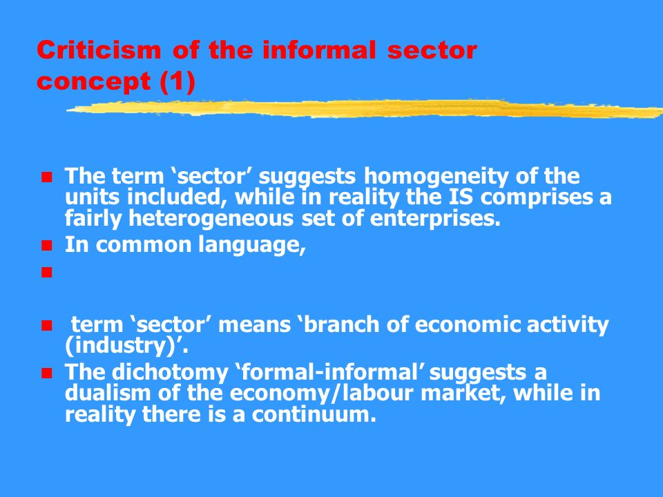 Criticism of the informal sector concept (1) n The term sector suggests homogeneity of the units included, while in reality the IS comprises a fairly heterogeneous set of enterprises.