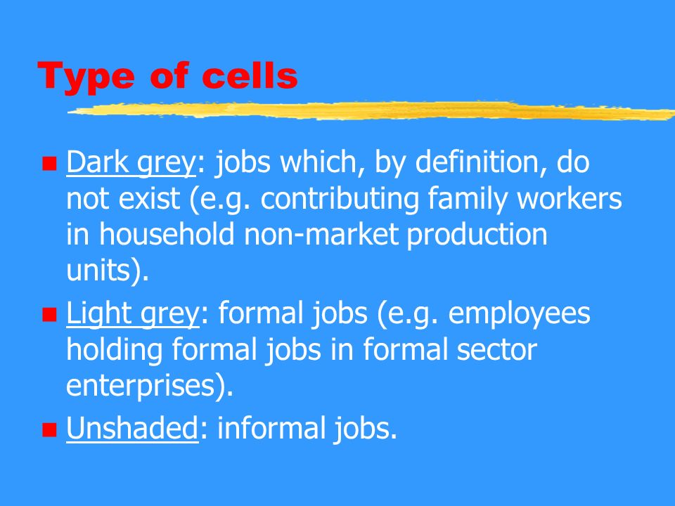 Type of cells n Dark grey: jobs which, by definition, do not exist (e.g.