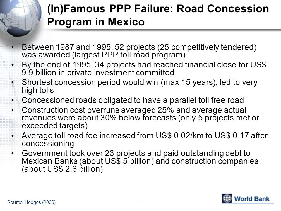 5 (In)Famous PPP Failure: Road Concession Program in Mexico Between 1987 and 1995, 52 projects (25 competitively tendered) was awarded (largest PPP to