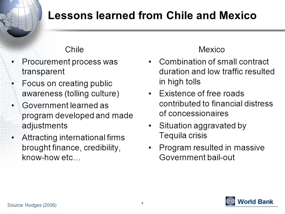 6 Lessons learned from Chile and Mexico Chile Procurement process was transparent Focus on creating public awareness (tolling culture) Government lear