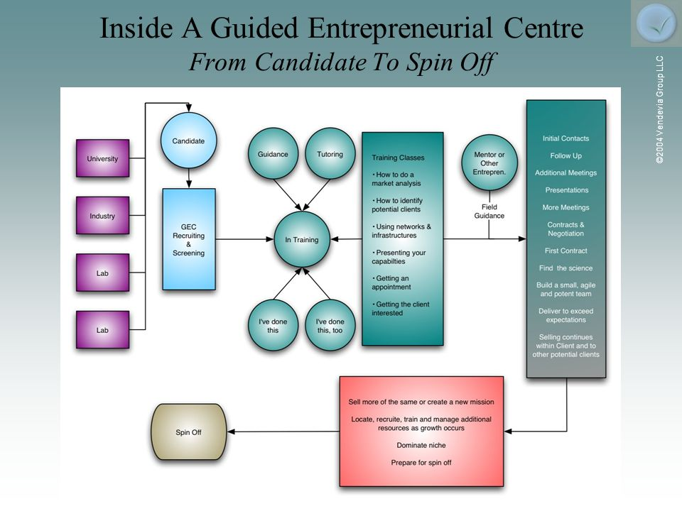 ©2004 Vendevia Group LLC Inside A Guided Entrepreneurial Centre From Candidate To Spin Off