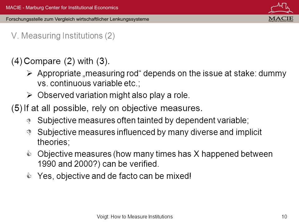 Voigt: How to Measure Institutions10 V. Measuring Institutions (2) (4)Compare (2) with (3).
