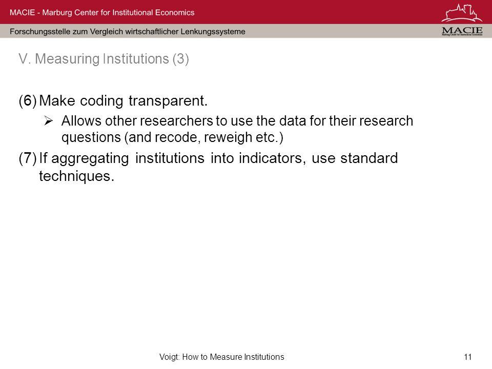 Voigt: How to Measure Institutions11 V.Measuring Institutions (3) (6)Make coding transparent.