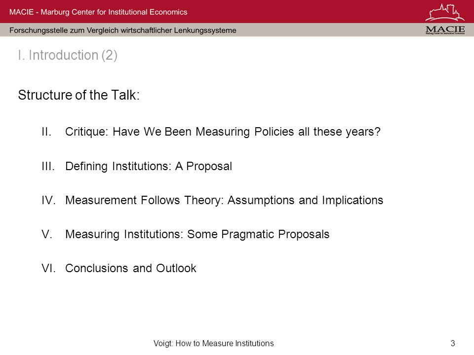 Voigt: How to Measure Institutions3 I.