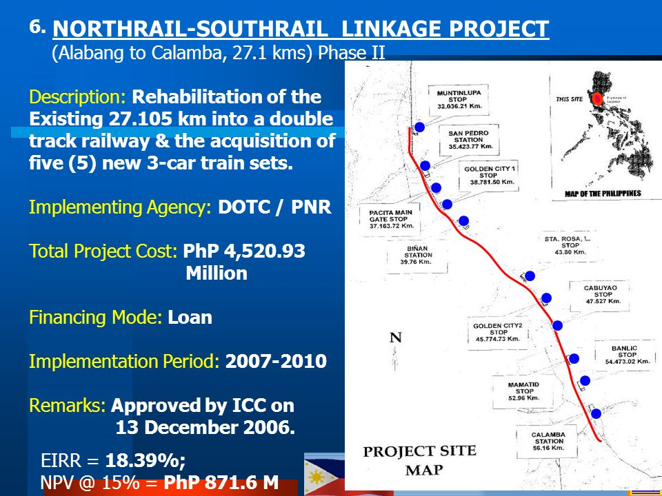 6. NORTHRAIL-SOUTHRAIL LINKAGE PROJECT (Alabang to Calamba, 27.1 kms) Phase II Description: Rehabilitation of the Existing 27.105 km into a double tra