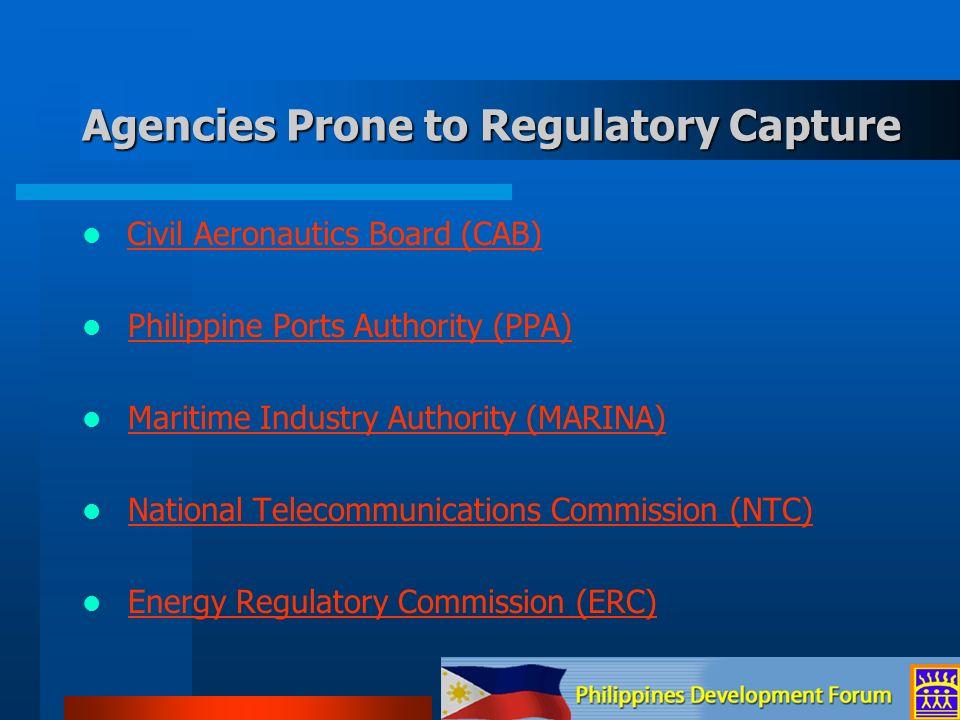 Civil Aeronautics Board (CAB) Philippine Ports Authority (PPA) Maritime Industry Authority (MARINA) National Telecommunications Commission (NTC) Energ
