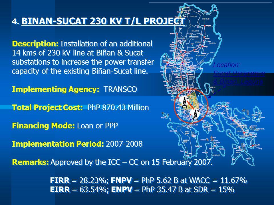 Location: Sucat,Paranaque & Binan, Laguna 4. BINAN-SUCAT 230 KV T/L PROJECT Description: Installation of an additional 14 kms of 230 kV line at Biñan