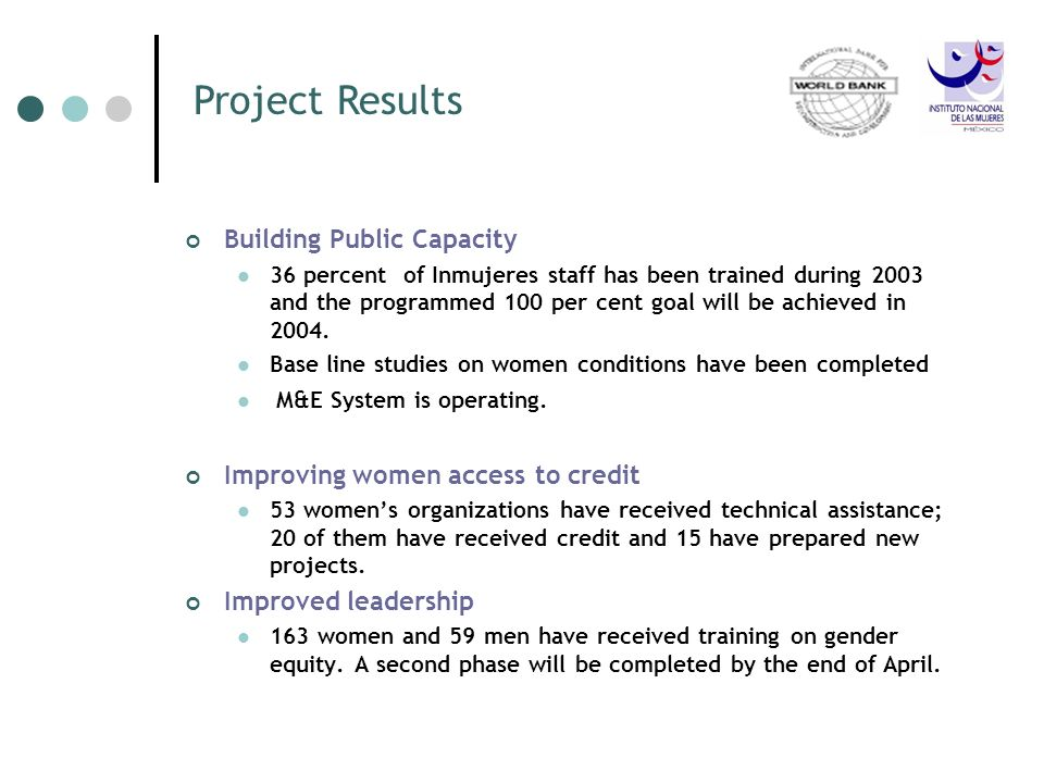 Building Public Capacity 36 percent of Inmujeres staff has been trained during 2003 and the programmed 100 per cent goal will be achieved in 2004. Bas