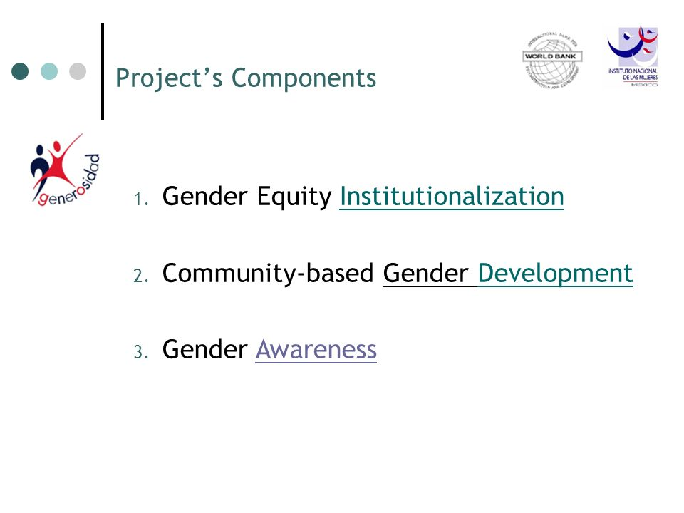 Projects Components 1. 1. Gender Equity InstitutionalizationInstitutionalization 2. 2. Community-based Gender DevelopmentDevelopment 3. 3. Gender Awar