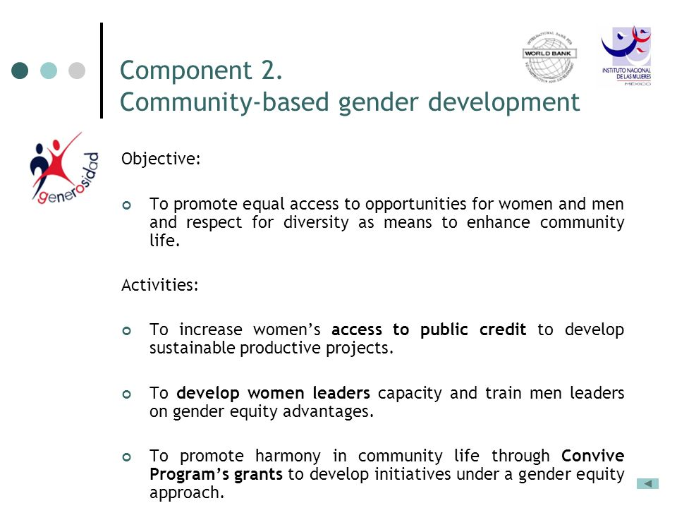 Component 2. Community-based gender development Objective: To promote equal access to opportunities for women and men and respect for diversity as mea