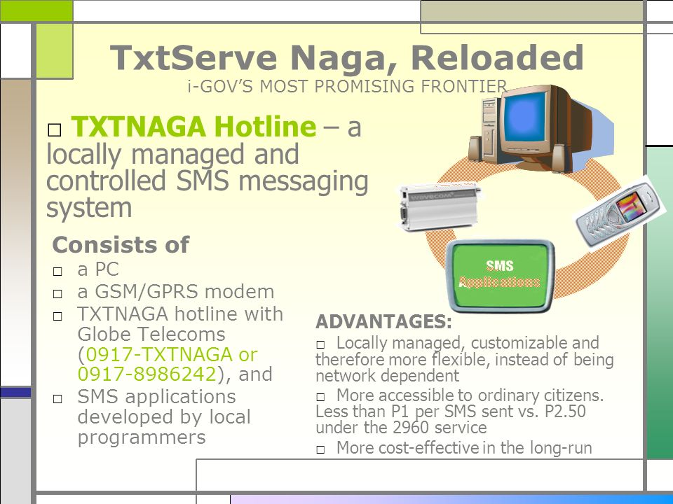 TxtServe Naga, Reloaded i-GOVS MOST PROMISING FRONTIER Consists of a PC a GSM/GPRS modem TXTNAGA hotline with Globe Telecoms (0917-TXTNAGA or 0917-898