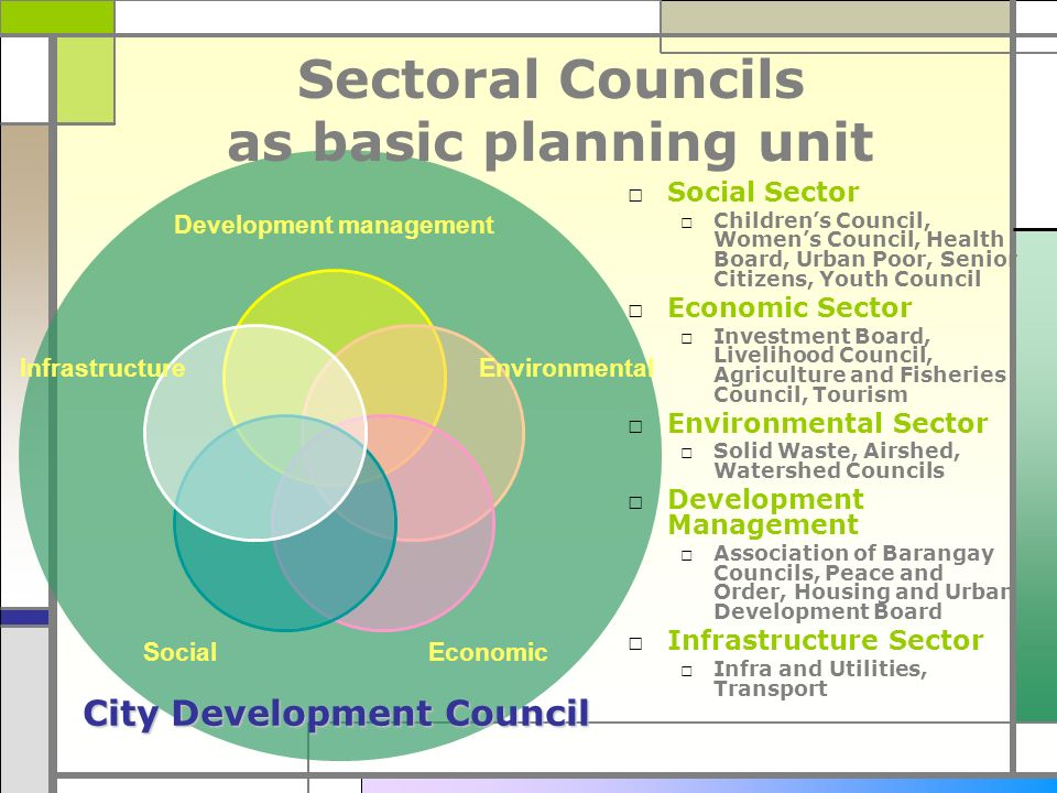 Sectoral Councils as basic planning unit Social Sector Childrens Council, Womens Council, Health Board, Urban Poor, Senior Citizens, Youth Council Eco