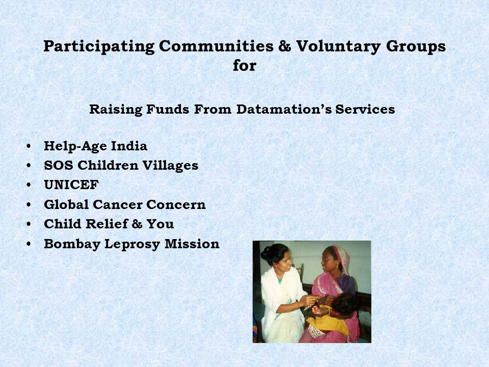 Participating Communities & Voluntary Groups for Help-Age India SOS Children Villages UNICEF Global Cancer Concern Child Relief & You Bombay Leprosy M
