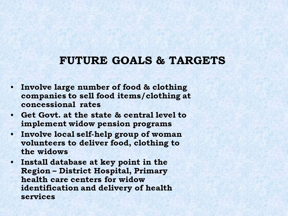 FUTURE GOALS & TARGETS Involve large number of food & clothing companies to sell food items/clothing at concessional rates Get Govt. at the state & ce