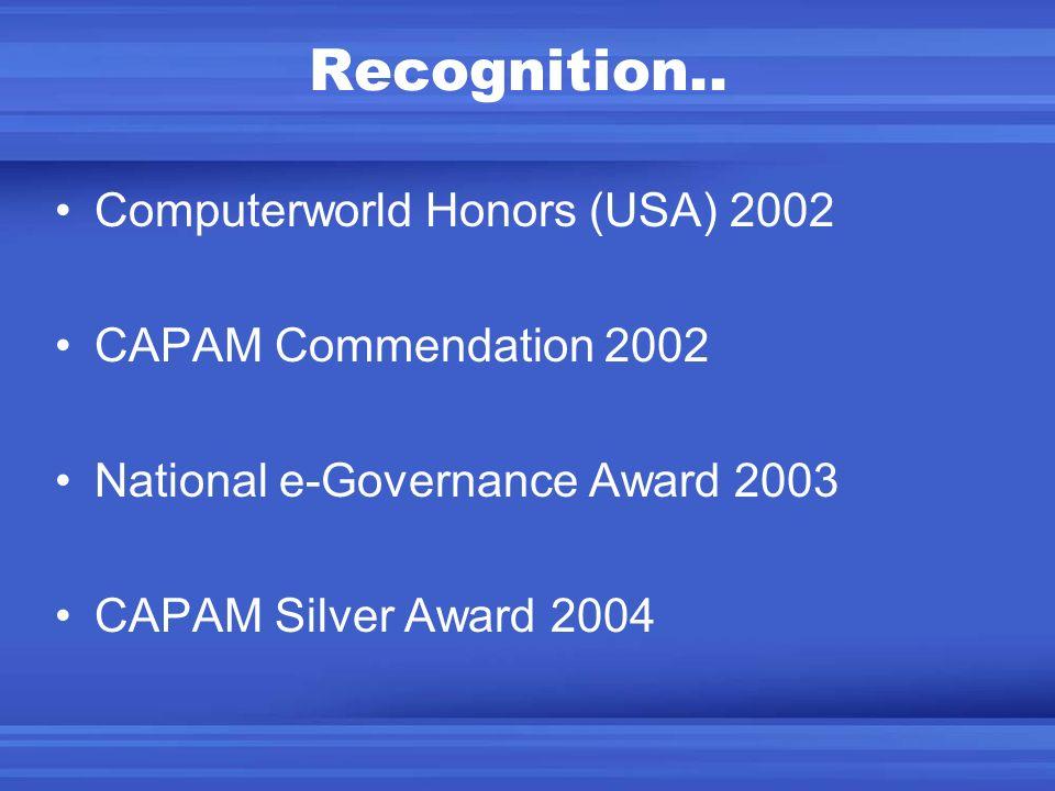 Recognition.. Computerworld Honors (USA) 2002 CAPAM Commendation 2002 National e-Governance Award 2003 CAPAM Silver Award 2004