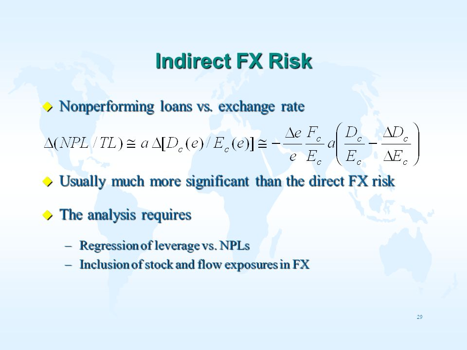 29 Indirect FX Risk u Nonperforming loans vs. exchange rate u Usually much more significant than the direct FX risk u The analysis requires –Regressio