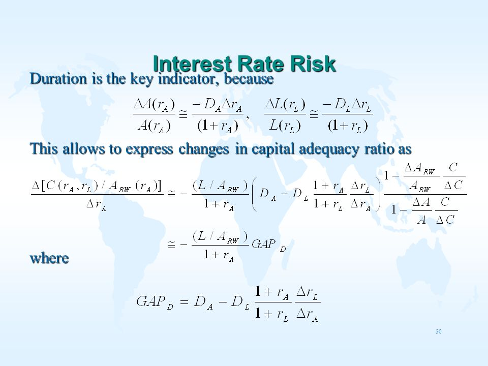 30 Interest Rate Risk Duration is the key indicator, because This allows to express changes in capital adequacy ratio as where