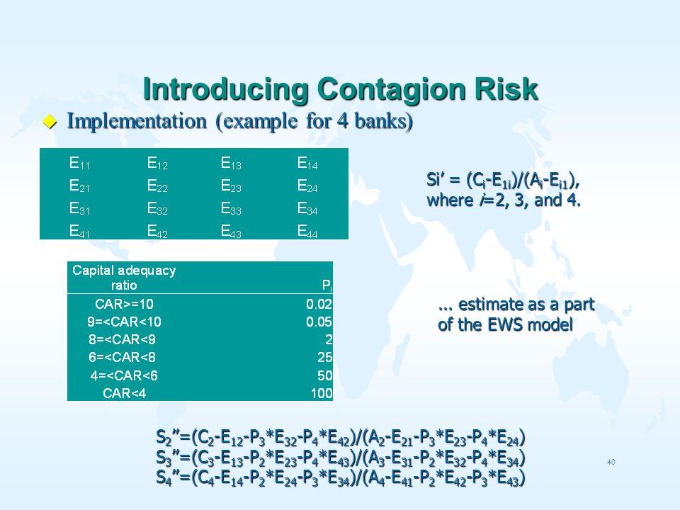 40 Introducing Contagion Risk u Implementation (example for 4 banks) Si = (C i -E 1i )/(A i -E i1 ), where i=2, 3, and 4. S 2 =(C 2 -E 12 -P 3 *E 32 -