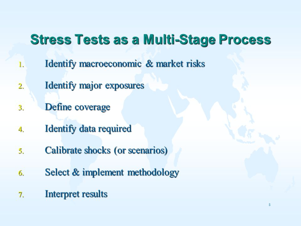 8 Stress Tests as a Multi-Stage Process 1. Identify macroeconomic & market risks 2. Identify major exposures 3. Define coverage 4. Identify data requi