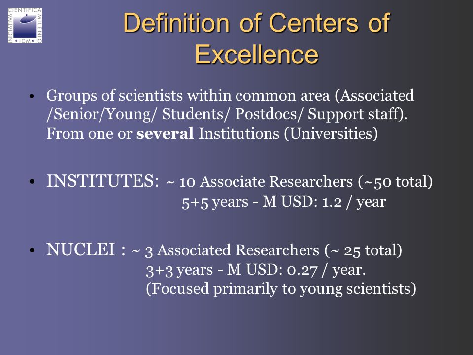 Definition of Centers of Excellence Groups of scientists within common area (Associated /Senior/Young/ Students/ Postdocs/ Support staff). From one or