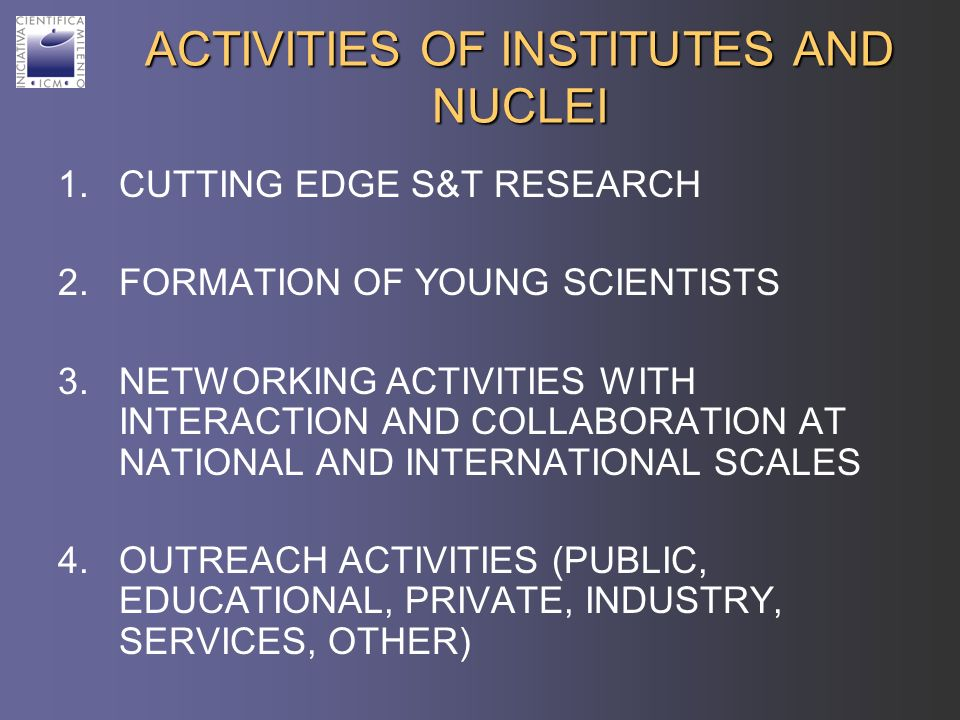 ACTIVITIES OF INSTITUTES AND NUCLEI 1.CUTTING EDGE S&T RESEARCH 2.FORMATION OF YOUNG SCIENTISTS 3.NETWORKING ACTIVITIES WITH INTERACTION AND COLLABORA
