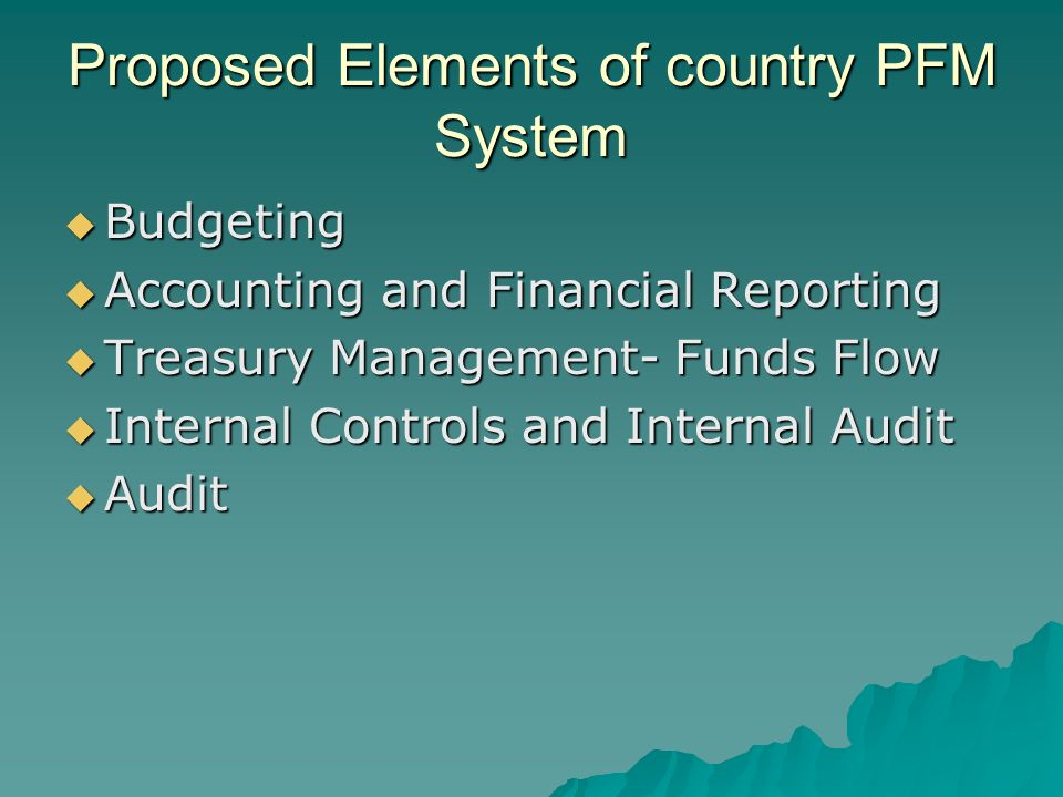 Proposed Elements of country PFM System Budgeting Budgeting Accounting and Financial Reporting Accounting and Financial Reporting Treasury Management- Funds Flow Treasury Management- Funds Flow Internal Controls and Internal Audit Internal Controls and Internal Audit Audit Audit