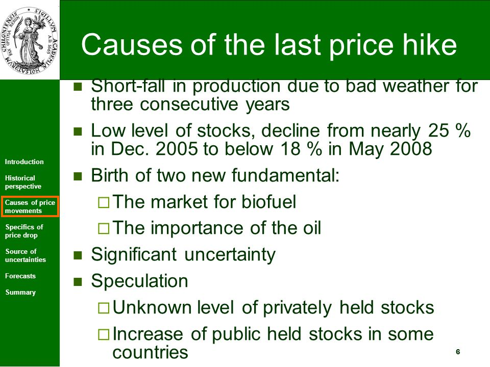 Introduction Historical perspective Causes of price movements Specifics of price drop Source of uncertainties Forecasts Summary 7 Development of world production and world consumption for wheat 1000 MT