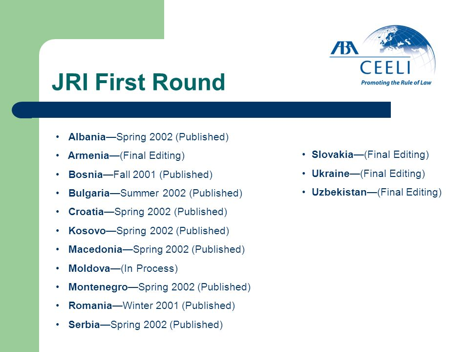 JRI First Round AlbaniaSpring 2002 (Published) Armenia(Final Editing) BosniaFall 2001 (Published) BulgariaSummer 2002 (Published) CroatiaSpring 2002 (Published) KosovoSpring 2002 (Published) MacedoniaSpring 2002 (Published) Moldova(In Process) MontenegroSpring 2002 (Published) RomaniaWinter 2001 (Published) SerbiaSpring 2002 (Published) Slovakia(Final Editing) Ukraine(Final Editing) Uzbekistan(Final Editing)
