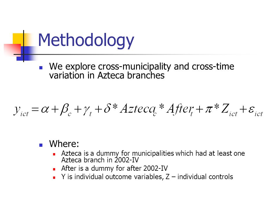 Methodology We explore cross-municipality and cross-time variation in Azteca branches Where: Azteca is a dummy for municipalities which had at least one Azteca branch in 2002-IV After is a dummy for after 2002-IV Y is individual outcome variables, Z – individual controls