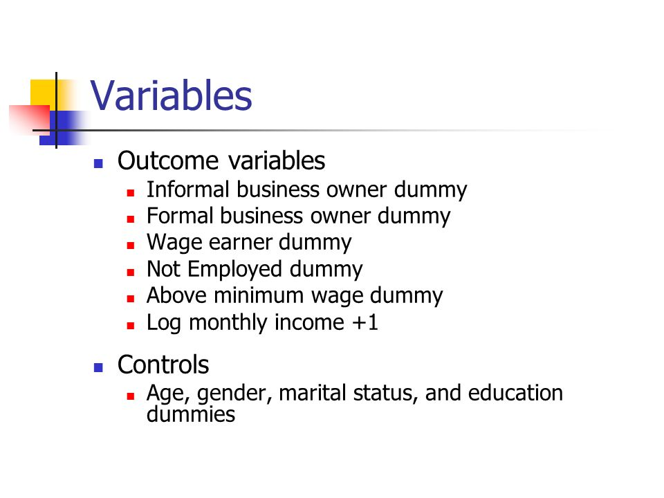 Variables Outcome variables Informal business owner dummy Formal business owner dummy Wage earner dummy Not Employed dummy Above minimum wage dummy Log monthly income +1 Controls Age, gender, marital status, and education dummies