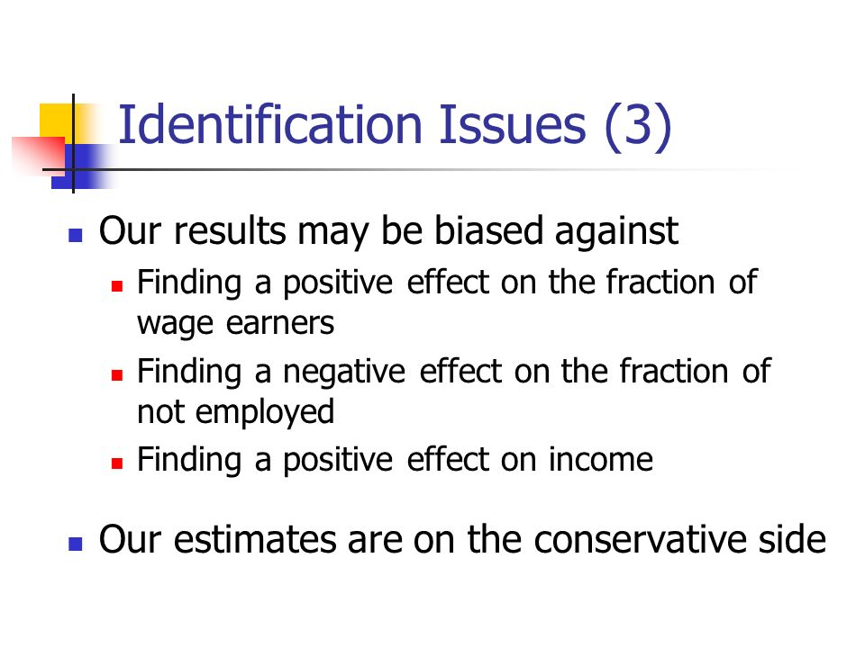 Identification Issues (3) Our results may be biased against Finding a positive effect on the fraction of wage earners Finding a negative effect on the fraction of not employed Finding a positive effect on income Our estimates are on the conservative side