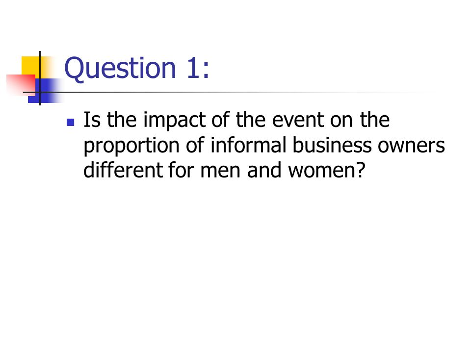 Question 1: Is the impact of the event on the proportion of informal business owners different for men and women