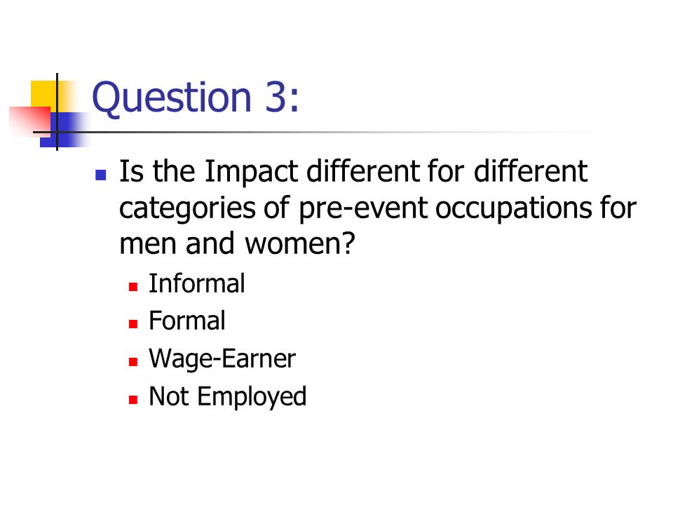 Question 3: Is the Impact different for different categories of pre-event occupations for men and women.