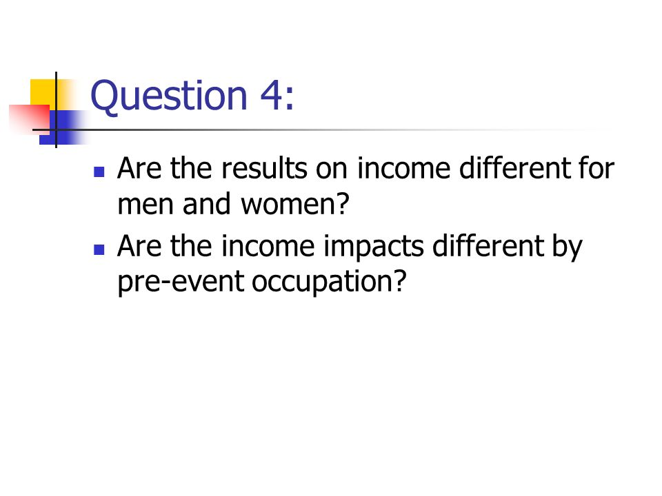 Question 4: Are the results on income different for men and women.