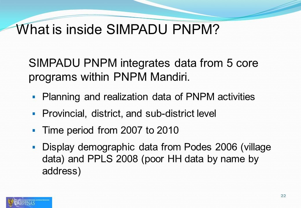 SIMPADU PNPM integrates data from 5 core programs within PNPM Mandiri.