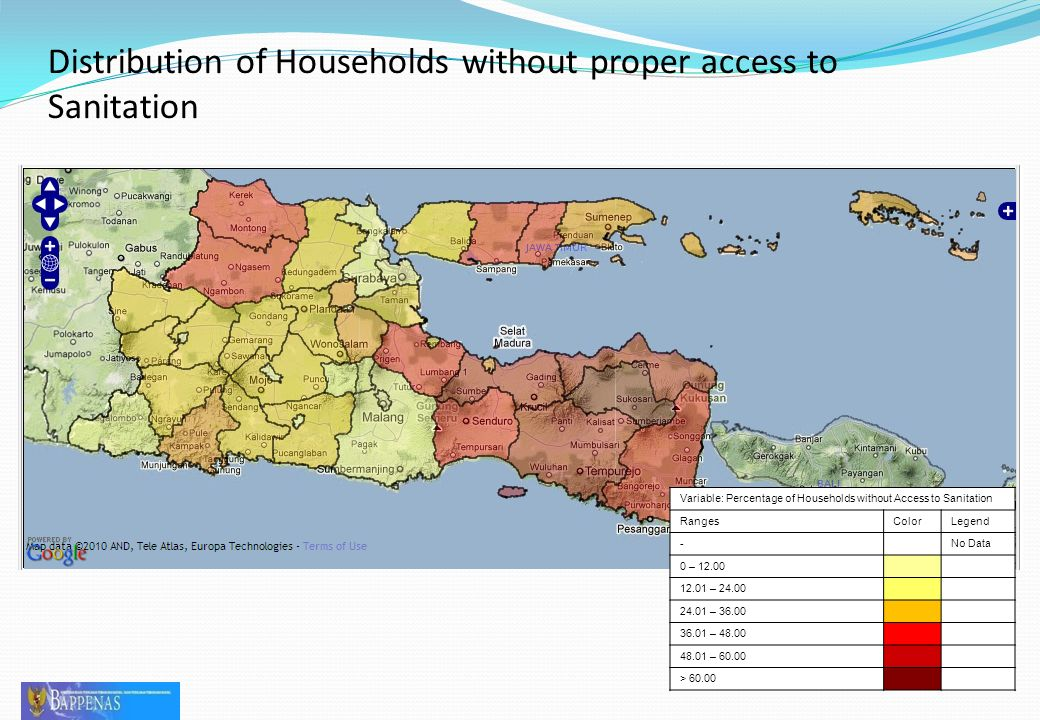 Distribution of Households without proper access to Sanitation 29 Variable: Percentage of Households without Access to Sanitation RangesColorLegend -No Data 0 – 12.00 12.01 – 24.00 24.01 – 36.00 36.01 – 48.00 48.01 – 60.00 > 60.00