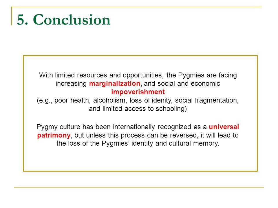 5. Conclusion With limited resources and opportunities, the Pygmies are facing increasing marginalization, and social and economic impoverishment (e.g