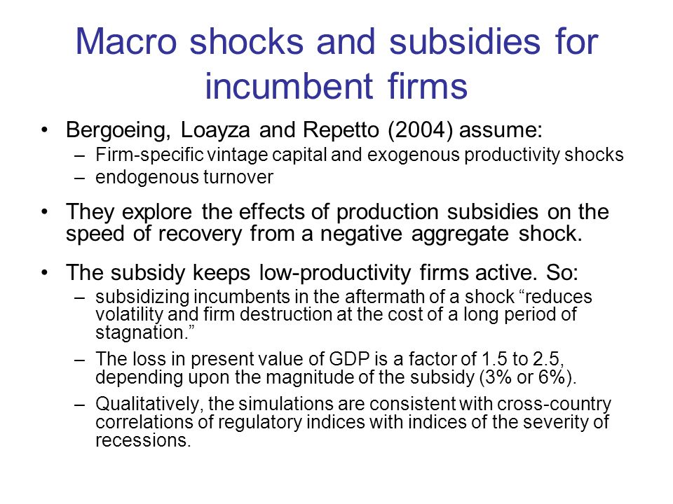 Macro shocks and subsidies for incumbent firms Bergoeing, Loayza and Repetto (2004) assume: –Firm-specific vintage capital and exogenous productivity shocks –endogenous turnover They explore the effects of production subsidies on the speed of recovery from a negative aggregate shock.