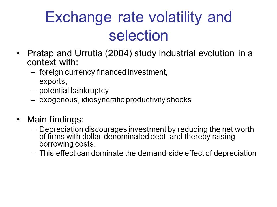 Exchange rate volatility and selection Pratap and Urrutia (2004) study industrial evolution in a context with: –foreign currency financed investment, –exports, –potential bankruptcy –exogenous, idiosyncratic productivity shocks Main findings: –Depreciation discourages investment by reducing the net worth of firms with dollar-denominated debt, and thereby raising borrowing costs.