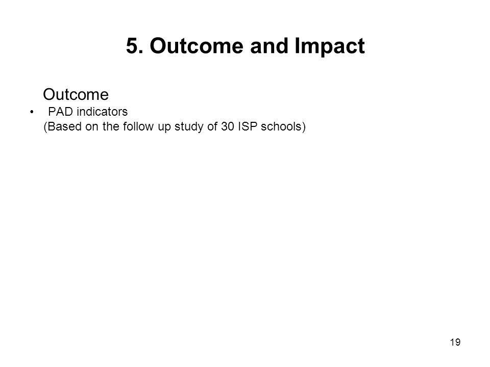 19 5. Outcome and Impact Outcome PAD indicators (Based on the follow up study of 30 ISP schools)