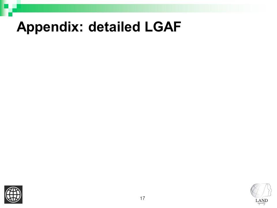 17 Appendix: detailed LGAF